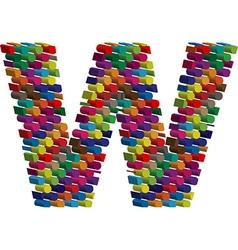 3d font letter w vector