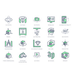 3d vr design line icons vector image