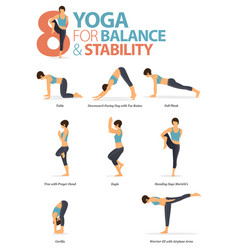 8 yoga poses for workout in balance and stability vector