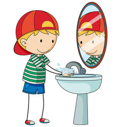 a doodle kid washing hand cartoon character vector image