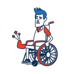 A man in a wheelchair with broken bone a vector