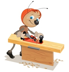 Ant carpenter planed board a plane vector image