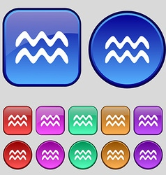 Aquarius icon sign A set of twelve vintage buttons vector image