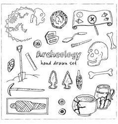 Archeology hand drawn sketch set of vector