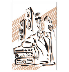 audiophile man with hi-fi audio system vector image