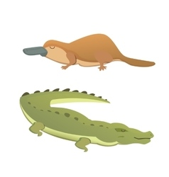 Australian animals crocodile and platypus vector