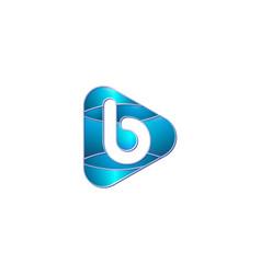 B alphabet modern play logo design concept vector