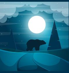 bear cartoon night landscape vector image