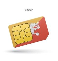 Bhutan mobile phone sim card with flag vector image