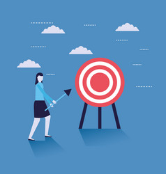 business woman with target vector image