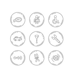 car mirror repair oil change and wrench icons vector image