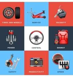 Car Service Concept Flat Icons Set vector image