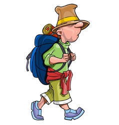cartoon funny man tourist with a backpack going vector image