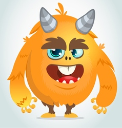 Cartoon orange fat and fluffy monster vector image