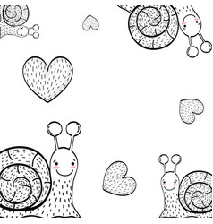 Charcoal and hearts drawings background vector