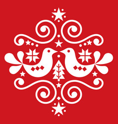 Christmas scandinavian folk art pattern vector