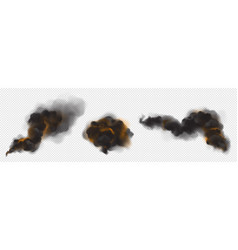 clouds black smoke with backlight from fire vector image