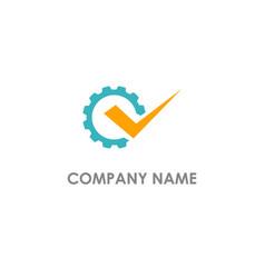 cogwhell gear check mark logo vector image