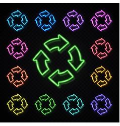 color neon 4 circle arrows set zero waste recycle vector image