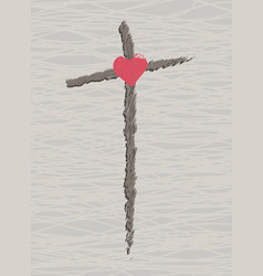 cross with a heart easter symbol vector image