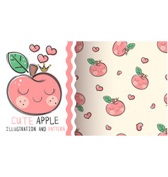 cute apple - seamless texture pattern vector image
