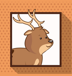Cute deer frame picture vector