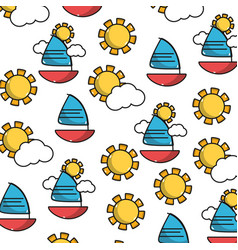 Cute sailing boat with clouds and sun background vector
