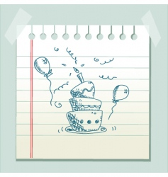 doodle cake vector image