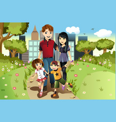Family in park vector