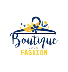Fashion boutique logo clothes shop dress store vector