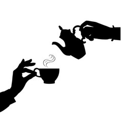 Female hands with a coffee cup and a coffee pot vector