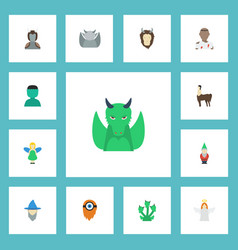 Flat icons wizard snake mythology and other vector