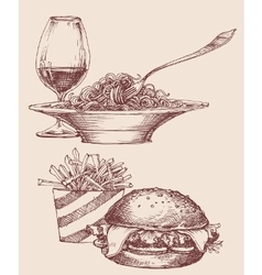 Food fast food burger and fries pasta and wine vector