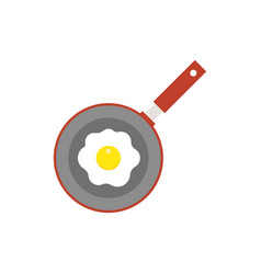 fried egg on panfry flat design icon vector image