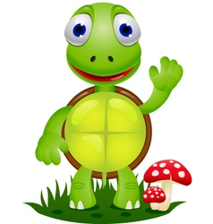friendly turtle cartoon vector image