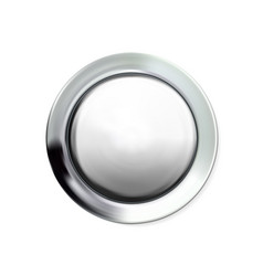 glossy realistic chrome button silvery circle vector image