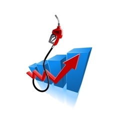 Growing bar graph with gasoline pump nozzle vector