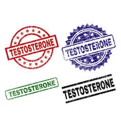 Grunge textured testosterone stamp seals vector