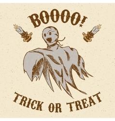 Halloween hand drawn ghost vector image