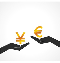 Hand hold yen and euro symbol to compare vector image