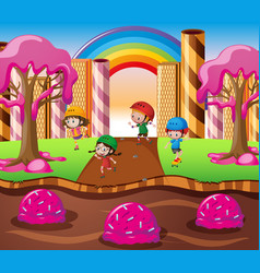 Happy children playing in candy land vector