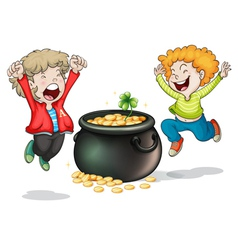 Happy faces of two kids with a pot of money vector