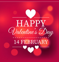 happy valentines day 14 february white heart light vector image