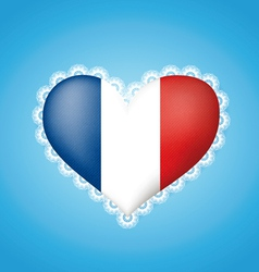 Heart shape flag of France vector image