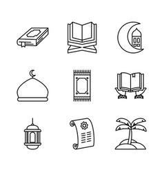 Holy koran and eid mubarak icon set line style vector