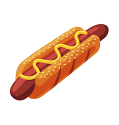 Hot dog with mustard fast food meal vector