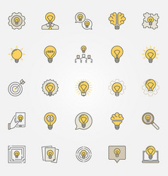 idea colorful icons set vector image vector image