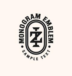 initial iz zi monogram emblem logo template vector image
