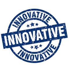 Innovative blue round grunge stamp vector