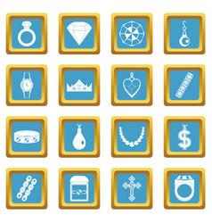 Jewelry items icons azure vector